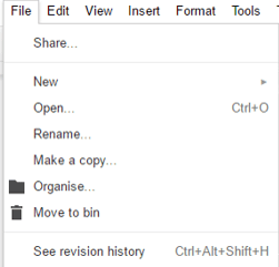 Google Drive Document Versions